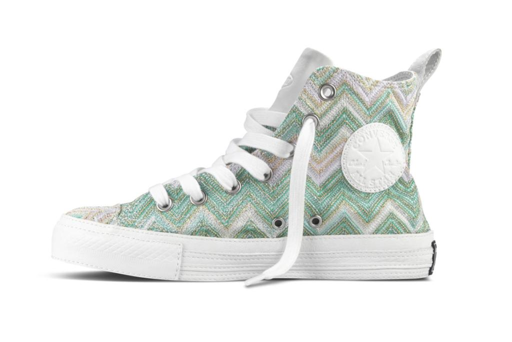 Missoni for Converse sneakers. The fifth Missoni for Converse collab, this limited edition shoe has just hit shelves. It features Missoni's signature zig-zag knit, with All Star classic styling. Comes in three different shades, $245 only from Area 51 in Auckland, or order from area51.co.nz.