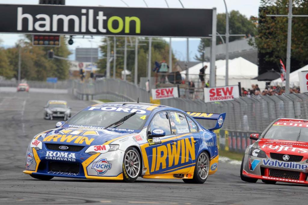 Ford driver Lee Holdsworth turns into the first corner during V8s practice.