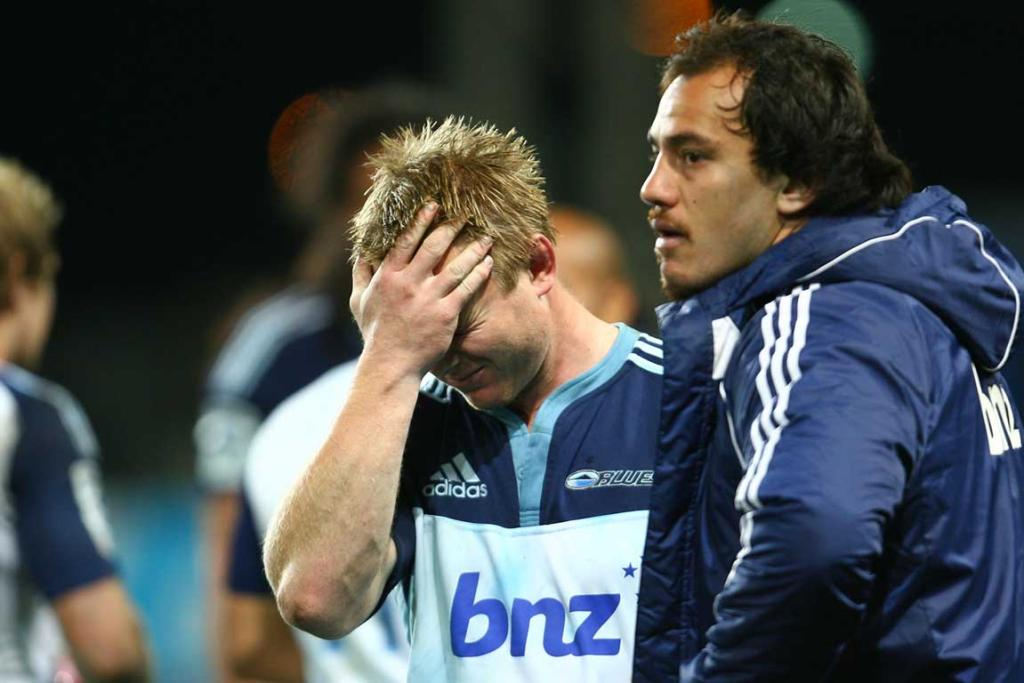 Tom McCartney of the Blues shows his disappointment after their loss to the Highlanders at Forsyth Barr Stadium.