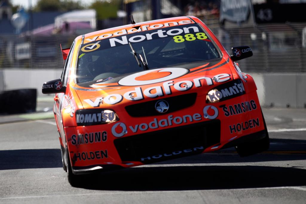 Craig Lowndes goes through the chicane.