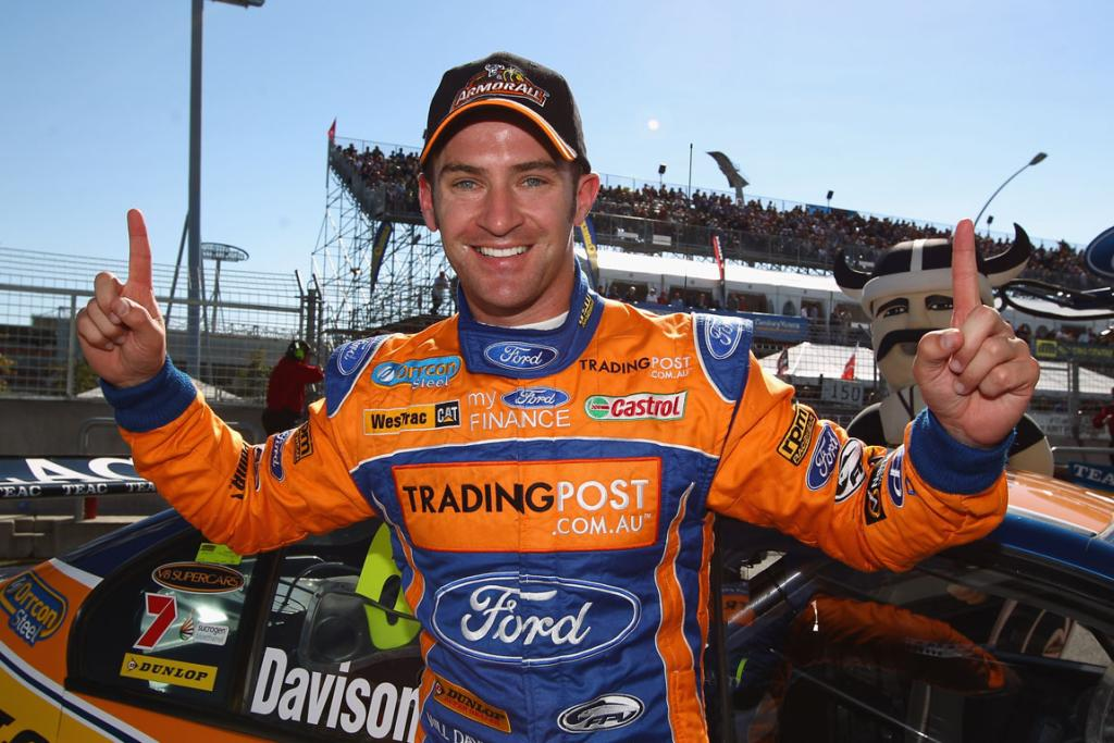 Will Davison driver of the #6 Tradingpost FPR Ford celebrates taking pole position after qualifying for race 6.