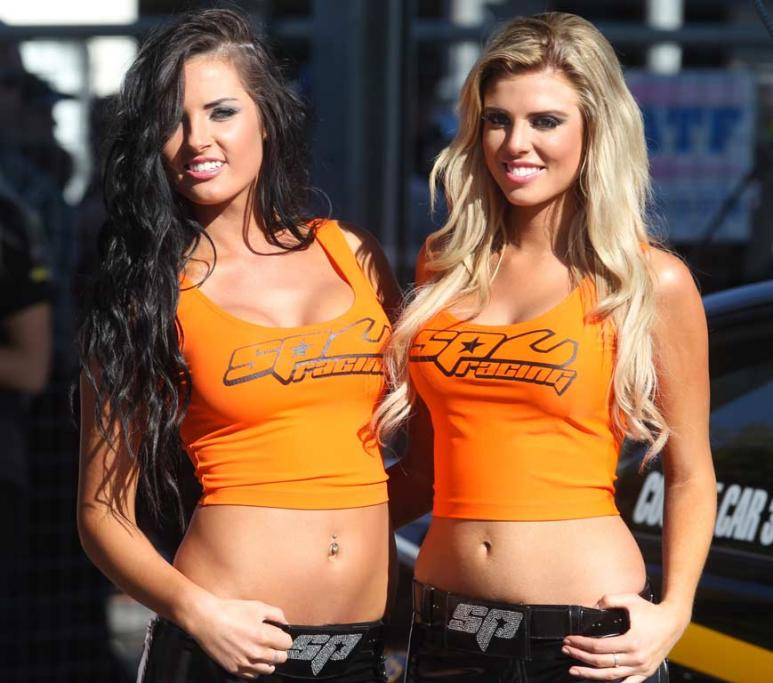 The SP Tools grid girls before race two at the Hamilton 400.