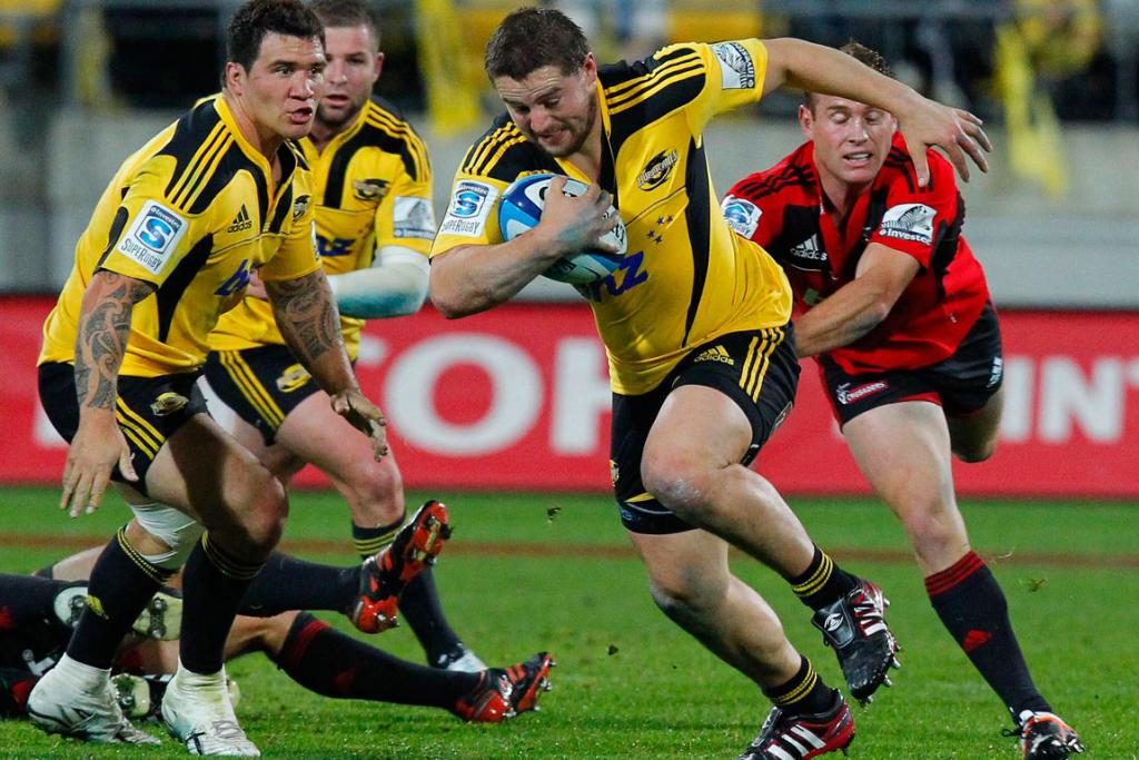 Hurricanes' Dane Coles on the charge against the Crusaders.