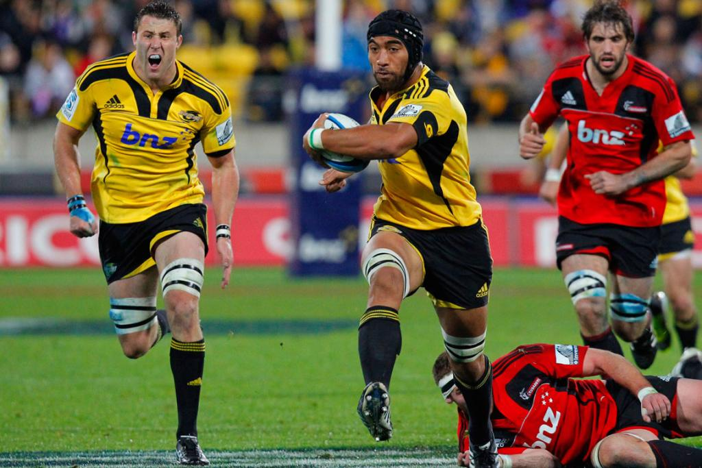 Hurricanes' Victor Vito on the charge against the Crusaders.