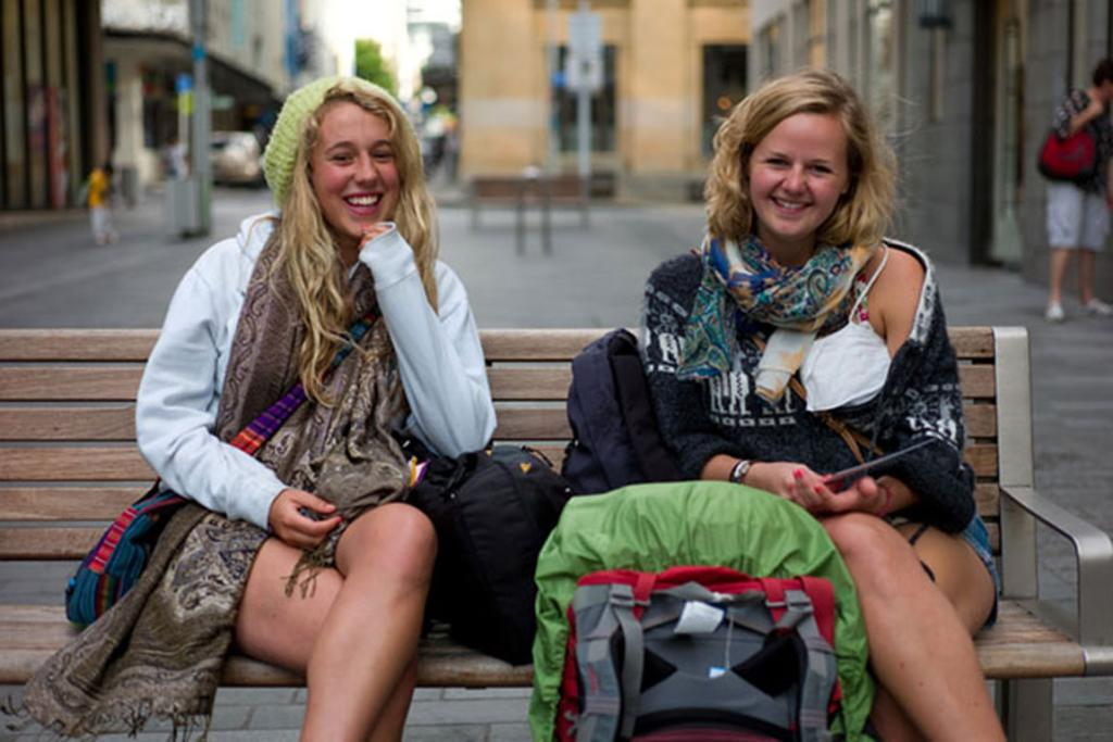 Twixie and Brittany in lower High St, Auckland. Two Essex girls just arrived in New Zealand for an adventure.