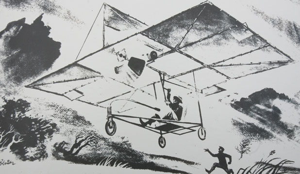 HISTORIC DEPICTION: An artist's impression of Richard Pearse flying his aeroplane.
