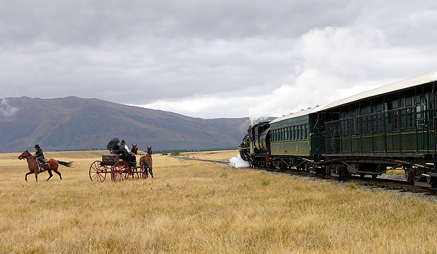 IRON HORSE: The Kingston Flyer steams along during filming for New Zealand western Good for Nothing.