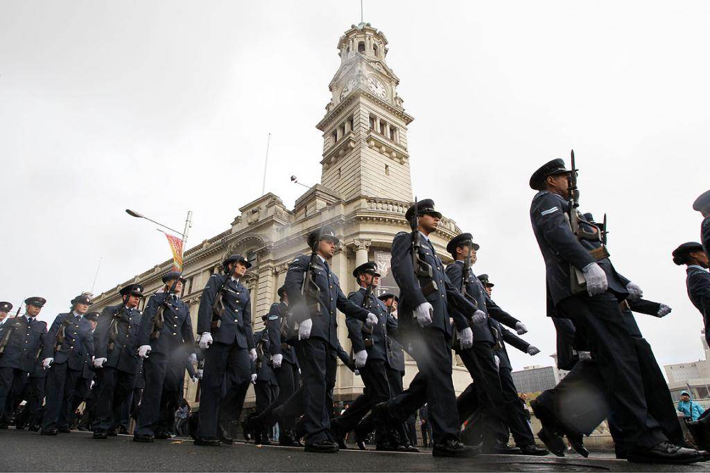 The RNZAF paraded through Auckland to celebrate their 75th anniversary.