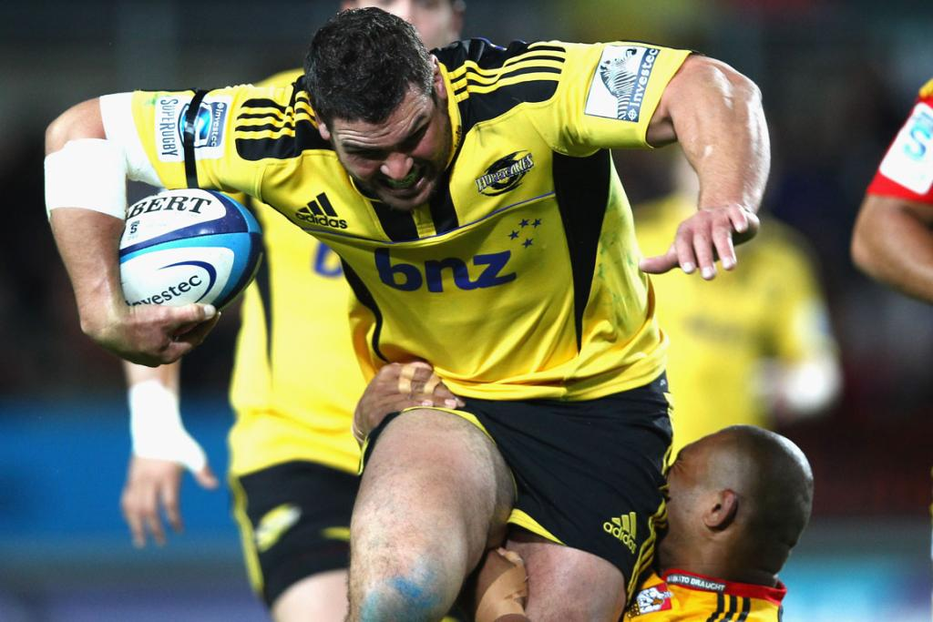 Hurricanes' prop Ben May makes a charge down field.