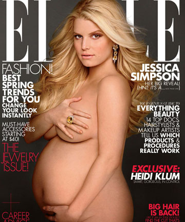 MUM AT LAST: Jessica Simpson, pictured on the cover of Elle magazine, has given birth to a girl.