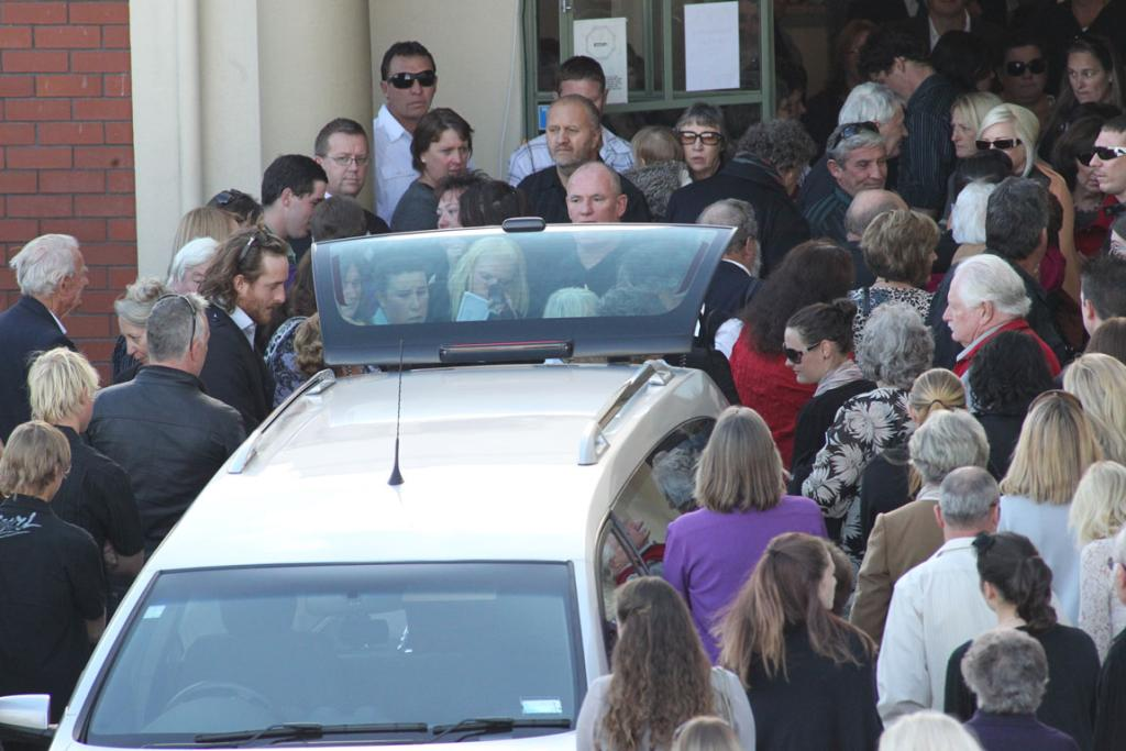 Mourners gather at Tuakau Town Hall to farewell Helen Schofield who died after being crushed by an elephant at Franklin Zoo.