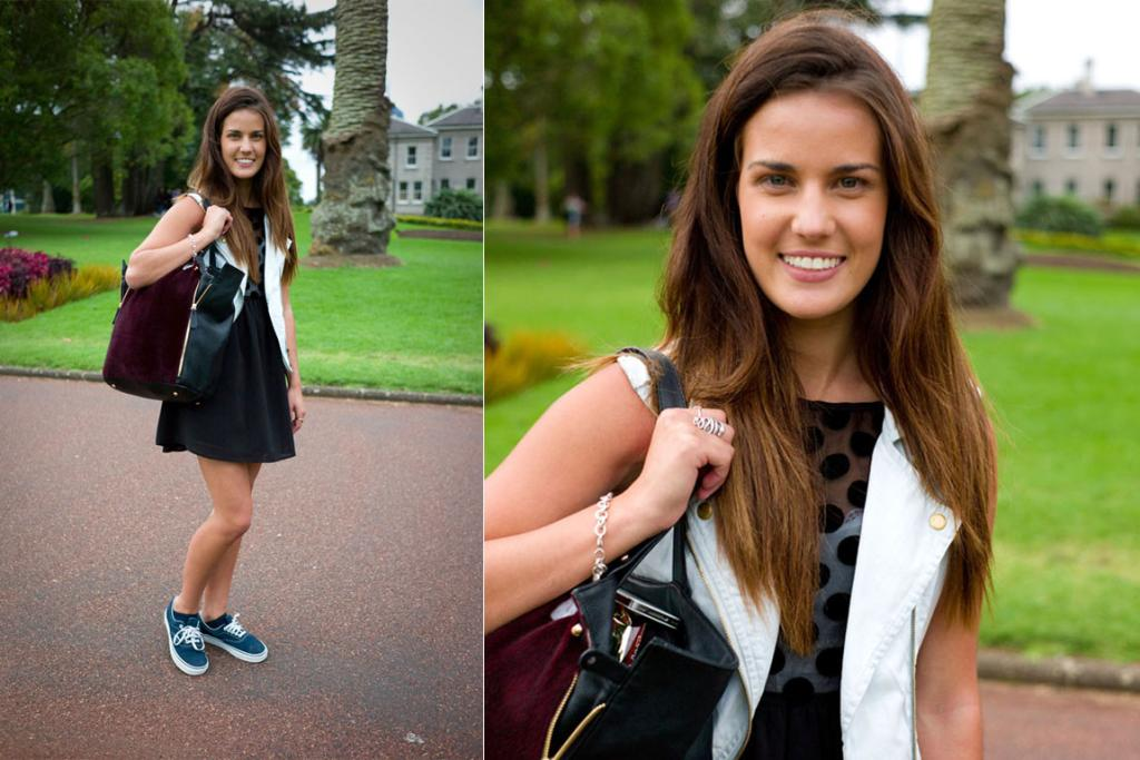Nicole walking back to varsity through Albert Park in a dress from Witchery and bag from Forever New.