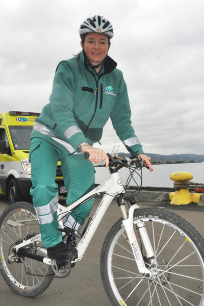 Helping hand: Paramedic Hannah Latta is gearing up for a gruelling mountain bike race.