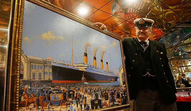 WHAT MIGHT HAVE BEEN: American maritime artist James Allen Flood poses with his painting of the Titanic as it would have appeared arriving in New York. Flood was on board the MS Balmoral, off Cobh, during last month's Titanic Memorial Cruise.