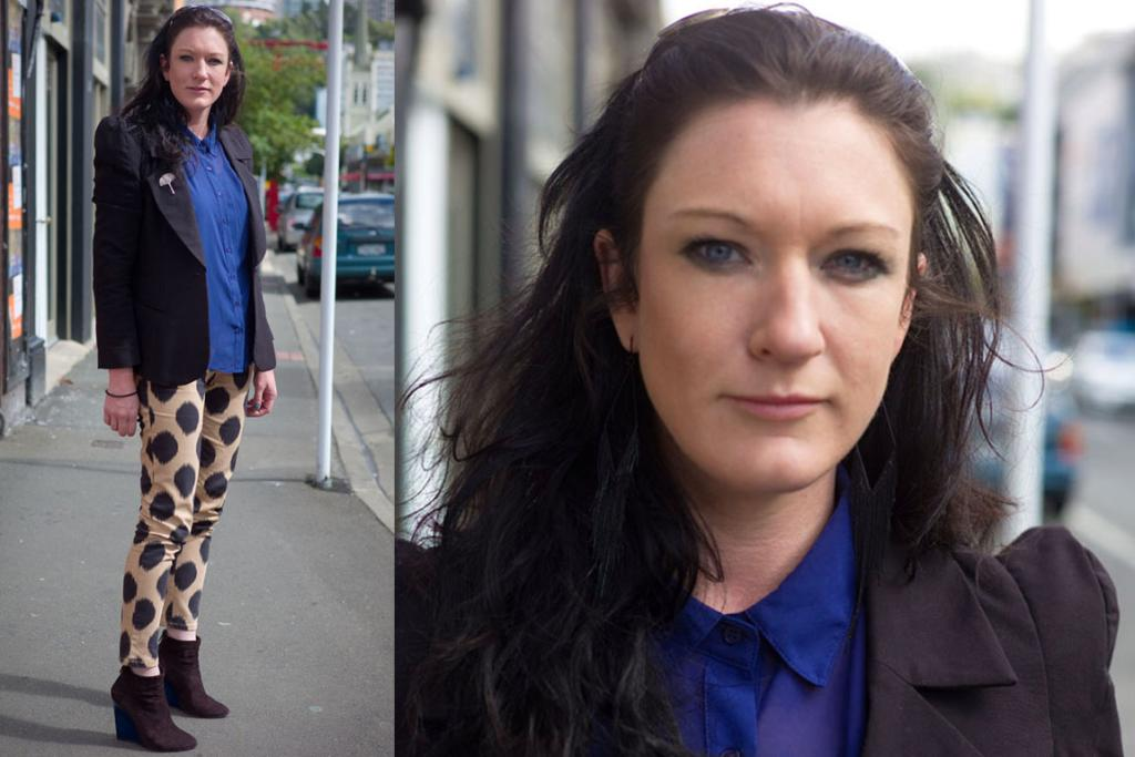 Kirsty, photographed on Vivian St, Wellington, wearing Sass and Bide pants, Glassons jacket and local jewellery.