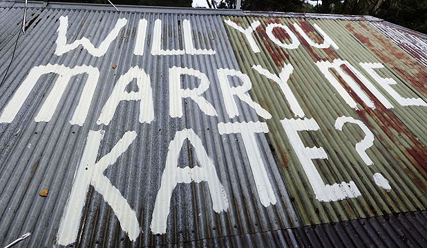 BIG QUESTION: Scott Rodgers painted a proposal on the roof of his Titirangi home.