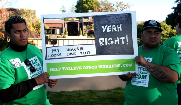 Affco workers protest outside Michael Talley's house
