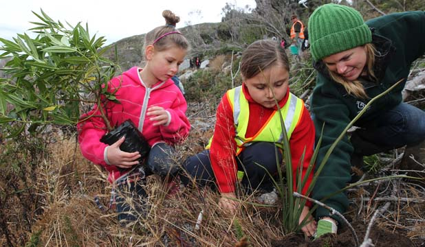HILL MAKEOVER: St Theresa's School pupils Delta Roderique, left, and cousin Zarah Roderique, both 8, and Environment Southland environmental education officer Nikki Tarbutt plant native seedlings on Bluff Hill yesterday.