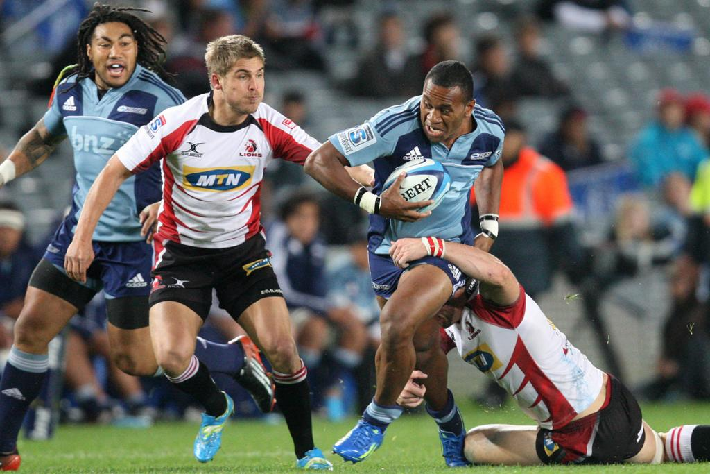 Blues right wing David Raikuna in action against the Lions.