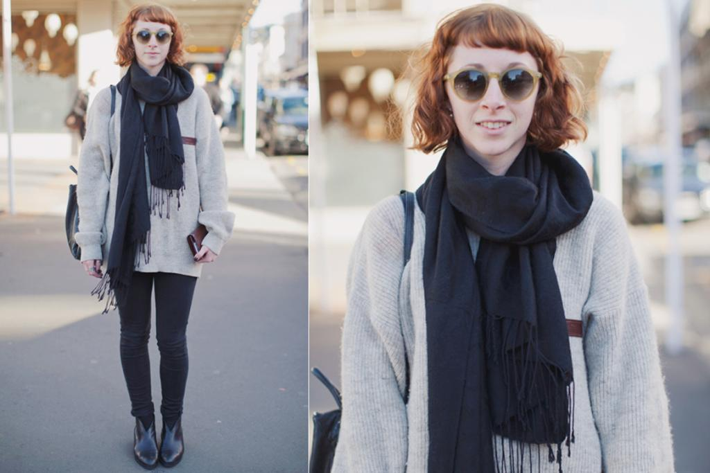 Kate, photographed on Cuba St, wearing Cheap Monday jeans, boots from I Love Paris, a vintage jumper and scarf and Emporium glasses.