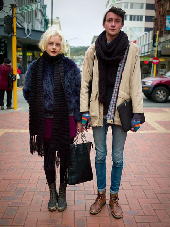 Sian wears a vintage blue fur jacket, pictured here with Jeremy in Wellington's Cuba St, all wrapped up for the chill.