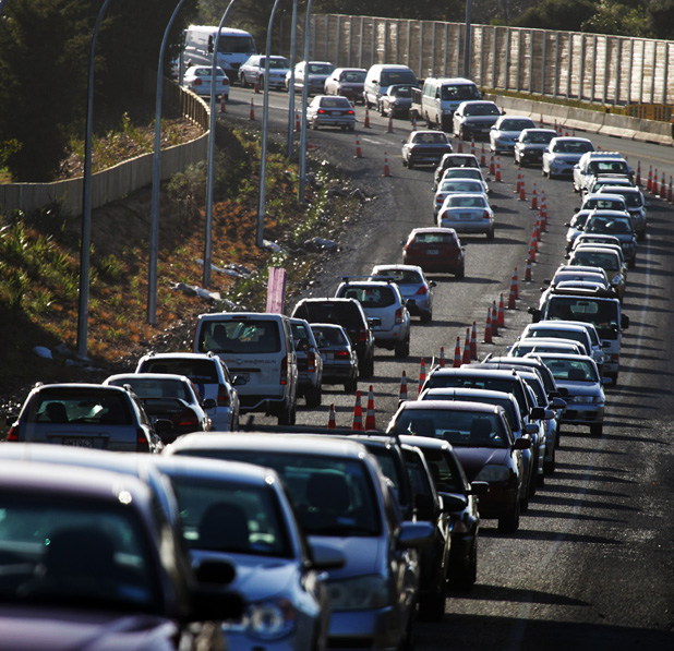 ON A GO-SLOW: Thousands of motorists experienced gridlock when they were caught out by heavy congestion on Wairere Dr and River Rd.