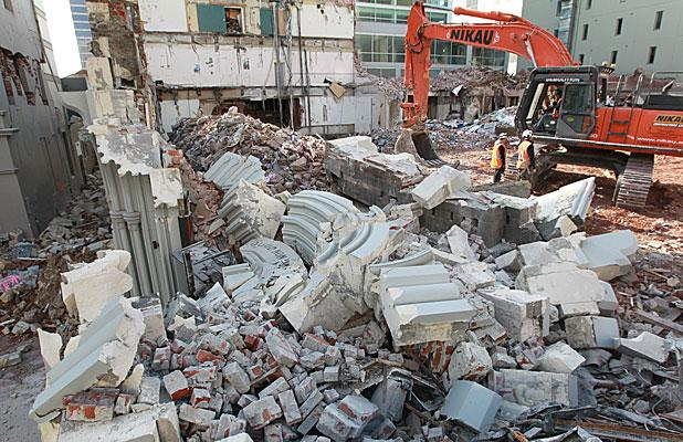 RUBBLE: The historic Press building has been demolished and the site cleared.