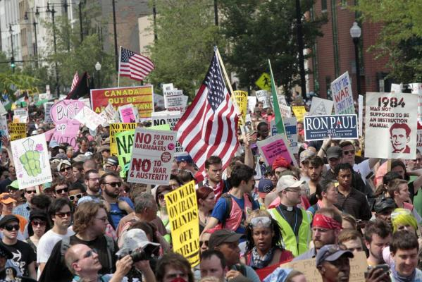 Demonstrators march down Michigan Avenue during an anti-Nato protest march in Chicago.