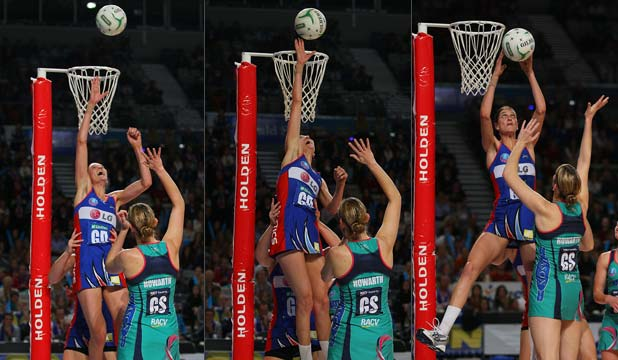 BEFORE, DURING AND AFTER: Northern Mystics defender Anna Harrison leaps to block a Vixens shot, which has sparked much discussion in netball circles.