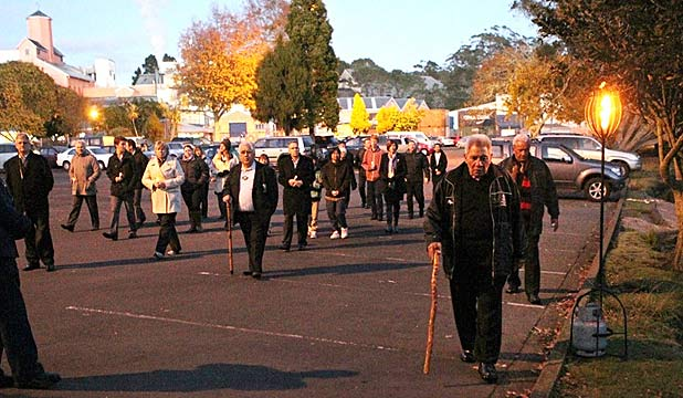 MEMORIAL: Family and friends attend the early morning service at Chelsea Sugar Factory on Auckland's North Shore.