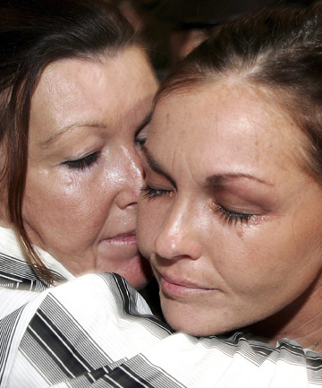 Schapelle Corby, right, with her mum Rosleigh during her trial.