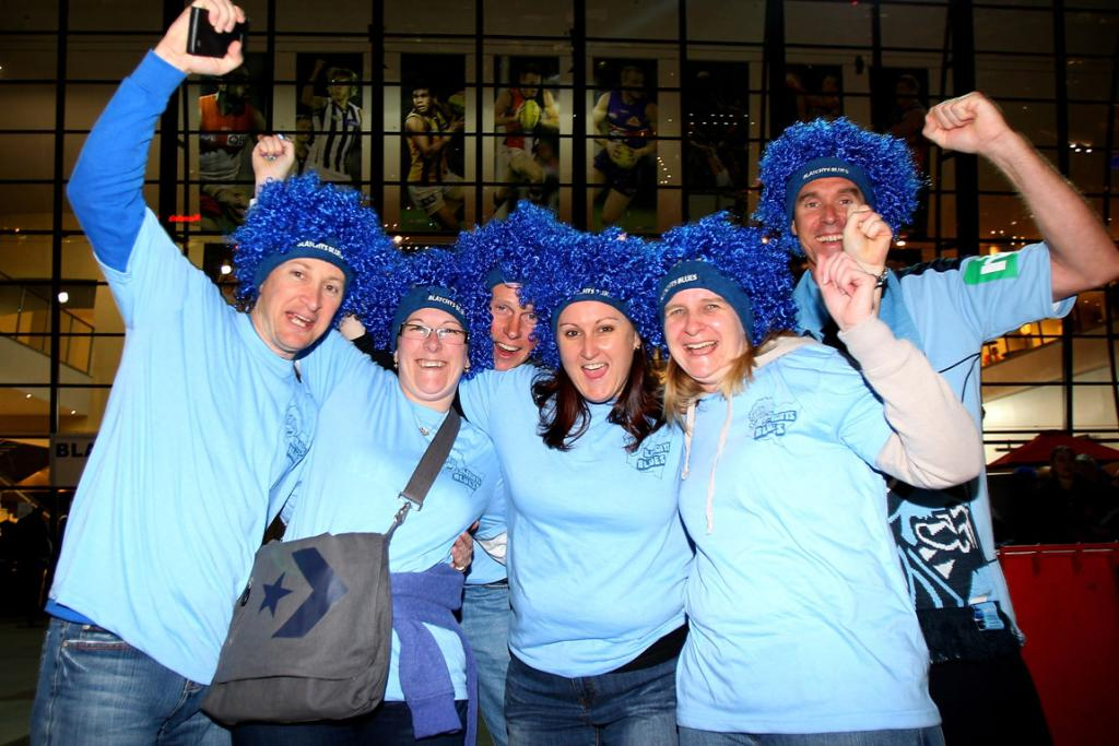 Blues fans show their support before the first State of Origin series match at Etihad Stadium.