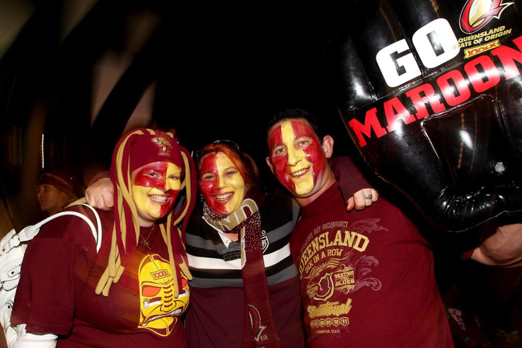 Maroons fans show their support before the first State of Origin series match at Etihad Stadium.