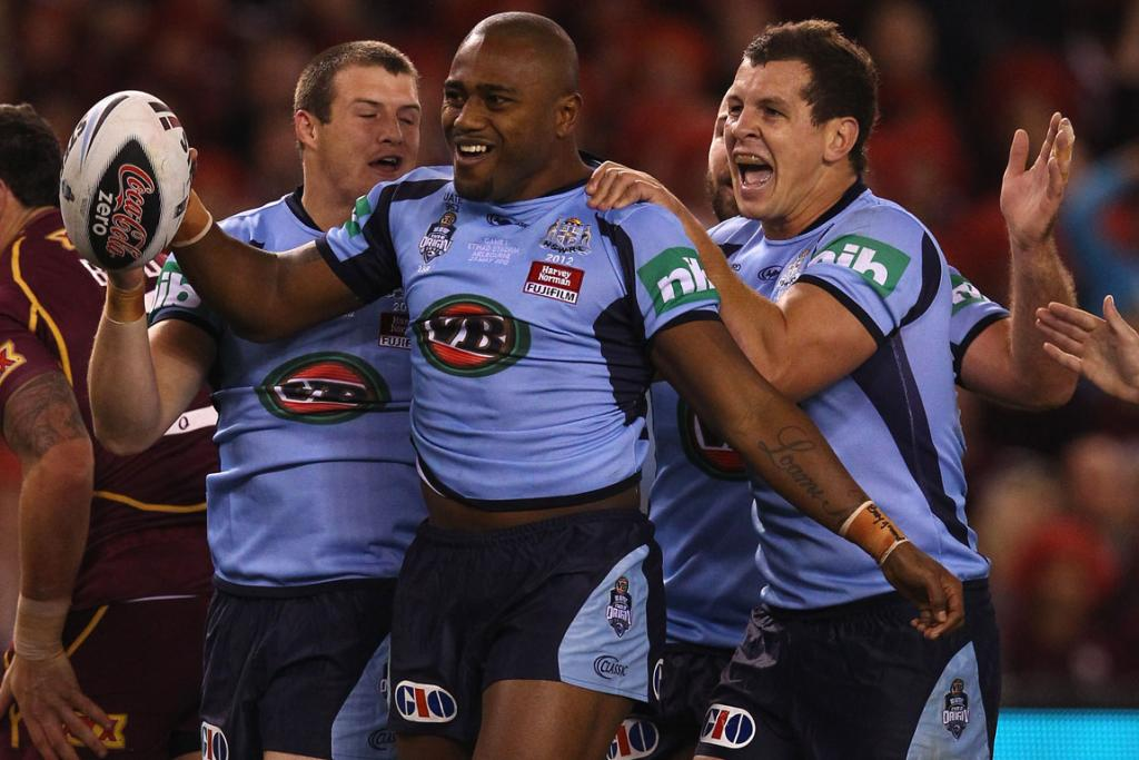 Akuila Uate of the Blues celebrates after he scored a try during game one at Etihad Stadium.