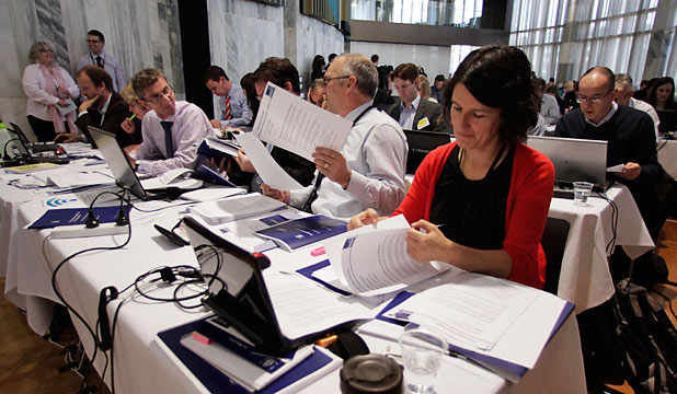 Journalists read through the 2012 Budget in the lock-up today.