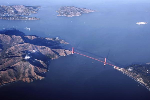 An aerial shot of San Francisco's Golden Gate Bridge taken in November, 2005.