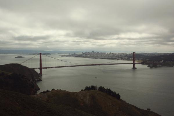A general view of the Golden Gate Bridge from the Marin Headlands in Sausalito, California taken in April, 2012.