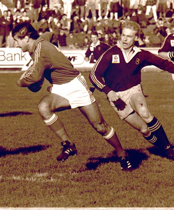 I'LL GET 'IM: Southland fullback Eion Crossan tries to catch up with a French attacker during a famous win in 1989.