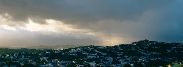 Dark clouds above Wellington this morning.