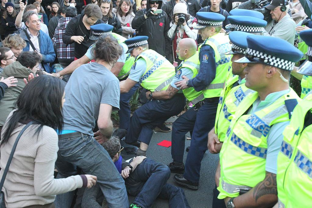 Auckland University students take to the streets to protest against education cuts.