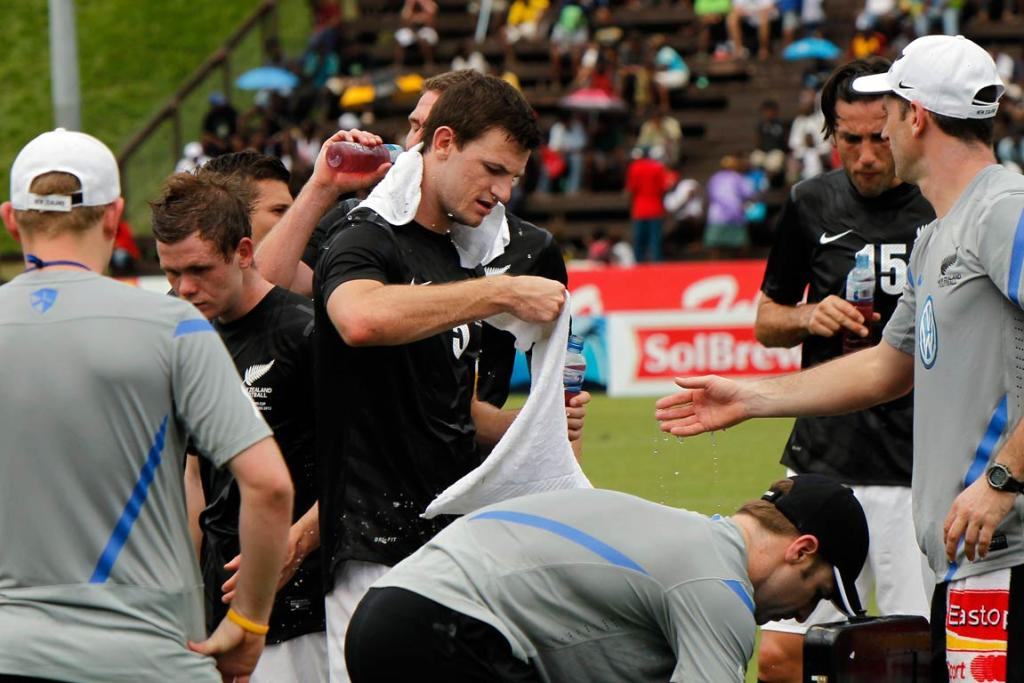 The All Whites chug down the drinks during a scheduled drinks break.