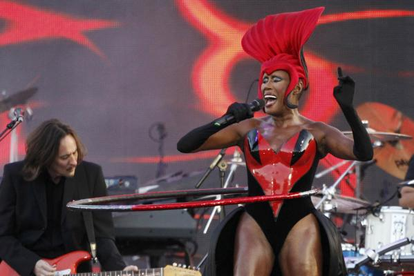 Jamaican singer Grace Jones performs during the Diamond Jubilee concert outside Buckingham Palace in London.