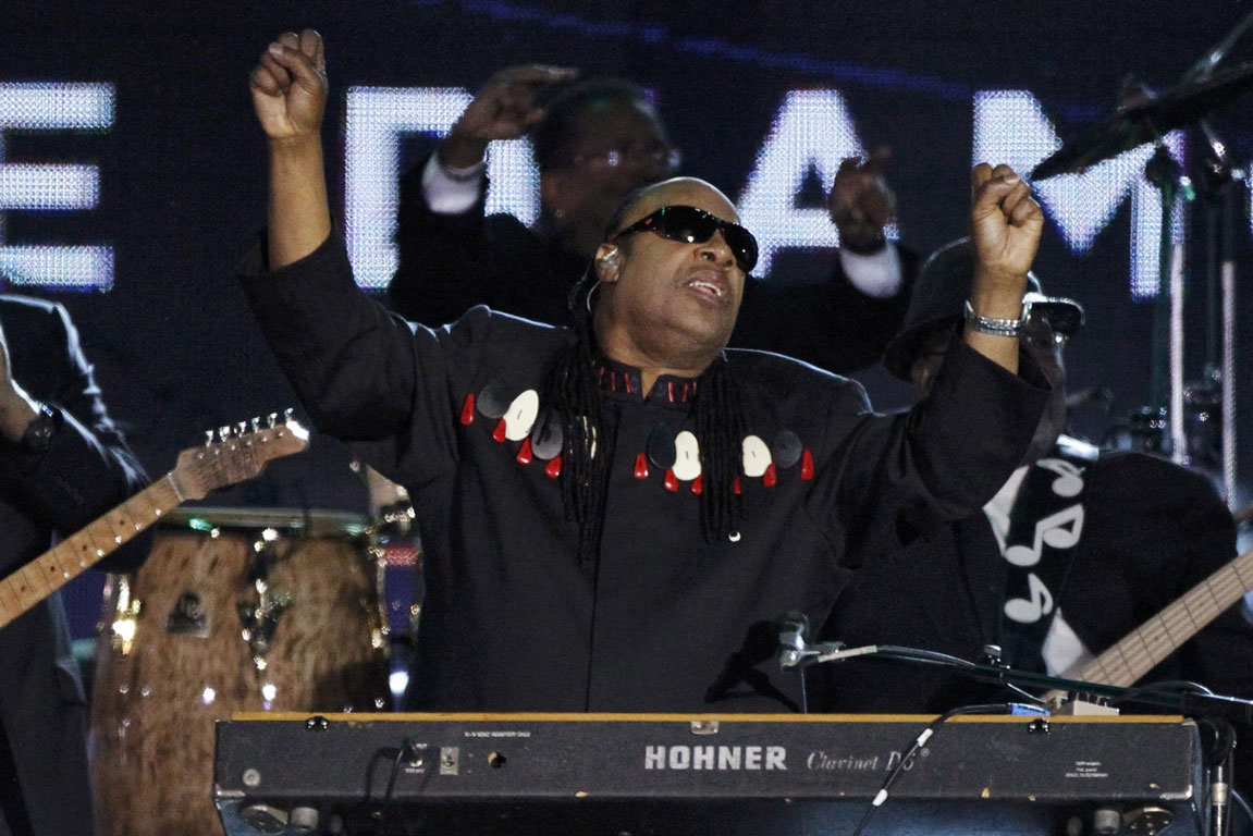 US musician Stevie Wonder performs during the Diamond Jubilee concert for Queen Elizabeth in front of Buckingham Palace in London.