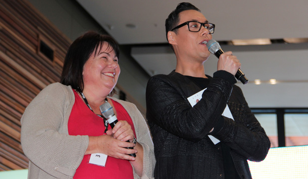 NERVOUS ANTICIPATION: Birkenhead resident Chantall Turner with style icon Gok Wan before her live makeover.