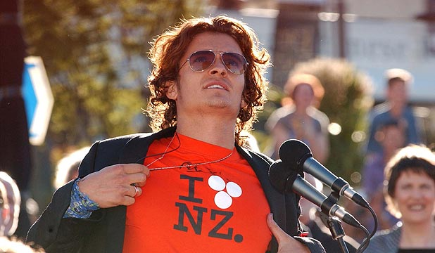FLASHBACK: Orlando Bloom shows off his I Love NZ t-shirt at the world premiere of the Return of the King in Wellington, December 1, 2003.
