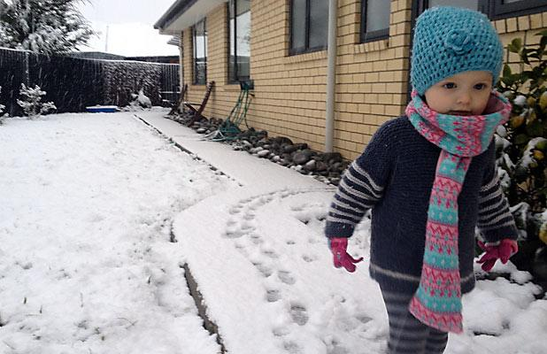 PLAY TIME: Summer Bennett rugged up in Rolleston.