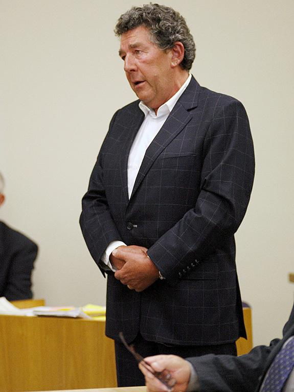 Paul Holmes in court during the drugs trial of his adopted daughter Millicent Elder in 2008.