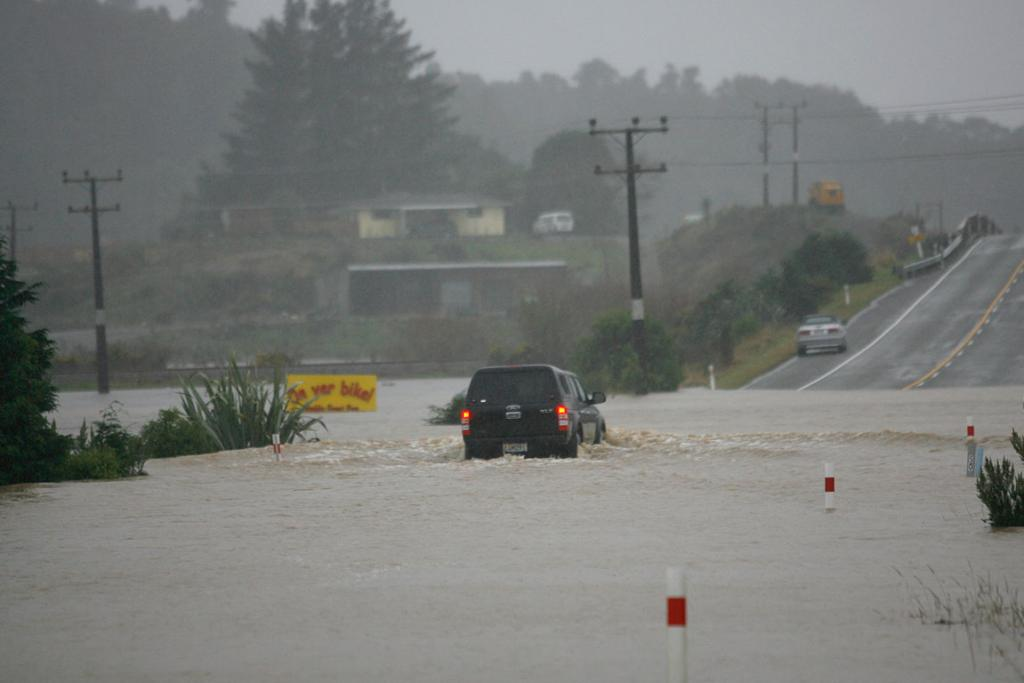 Flooding on State Highway 6 north of Greymouth.