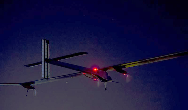 The Solar Impulse plan, piloted by Bertrand Piccard, takes off from Madrid's Barajas airport on its successful flight to Morocco.