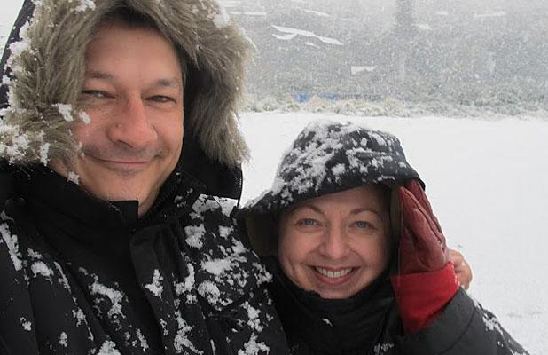 FUN IN THE SNOW: Nick and Claire Goodey at Sumner Beach.